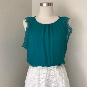 Ann Taylor Blouse with Eyelet Ruffle Sleeves